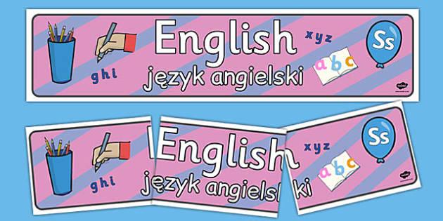 Banner na gazetkę ścienną Język angielski po polsku - gazetka