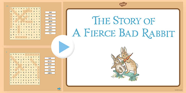 Beatrix Potter - The Story of a Fierce Bad Rabbit Differentiated Interactive Wordsearch - beatrix potter, fierce, bad, rabbit