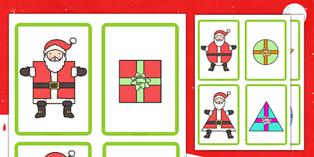 Santa and Present Shape Matching Cards - santa, present, matching, cards, shape