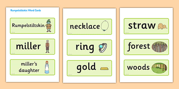 Rumpelstiltskin Word Cards - Rumpelstiltskin,Brothers Grimm,  miller, miller's daughter, spinning wheel, word card, flashcards, cards, forest, straw, gold, child, spinning, queen, woods, ring, greedy, palace, king, story book, traditional tale, story