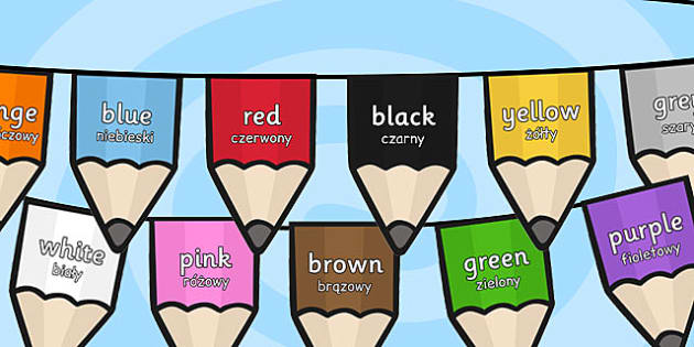 Colours on Pencil Bunting Polish Translation - polish, colours, pencil, bunting