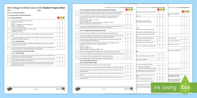 AQA (Trilogy) Unit 6.3 Particle Model of Matter Student Progress Sheet - Student Progress Sheets, AQA, RAG sheet, Unit 6.3 Particle Model of Matter