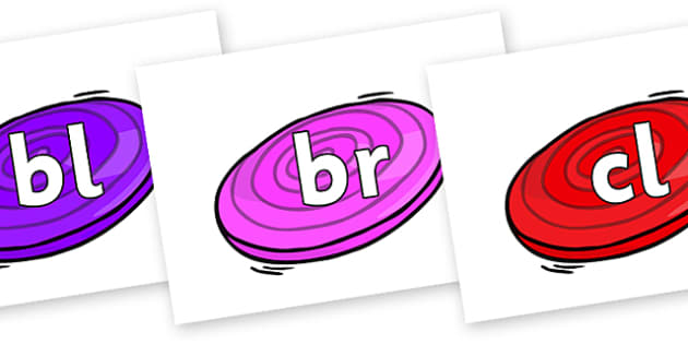Initial Letter Blends on Frisbees - Initial Letters, initial letter, letter blend, letter blends, consonant, consonants, digraph, trigraph, literacy, alphabet, letters, foundation stage literacy