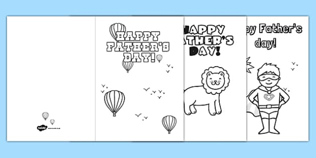 Fathers Day Card Templates Colouring - father, dad, gifts, cards