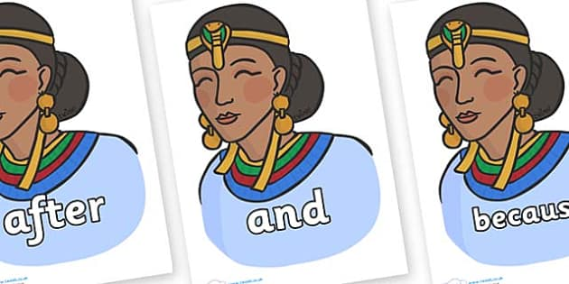 Connectives on Egyptian Women - Connectives, VCOP, connective resources, connectives display words, connective displays