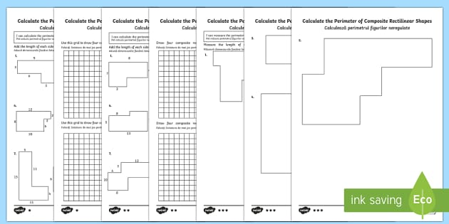 Year 5 Calculate the Perimeter of Composite Rectilinear Shapes Differentiated Activity Sheets Romanian Translation-Romanian-translation - Year 5, Y5, perimeter, composite rectilinear shapes., Romanian-translation
