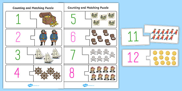 Pirate Themed Counting Matching Puzzle - count, match, puzzles