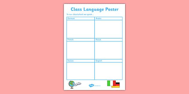 Editable Class or School Language Poster - editable, class, school, language, poster, display
