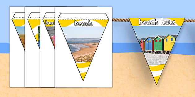 Seaside Photo Display Bunting - seaside, beach, seaside bunting, seaside photo bunting, seaside display bunting, seaside photos, seaside display resources