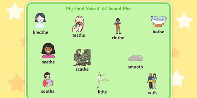 Final Voiced 'th' Sound Word Mat - final th, sound, word mat, word, mat