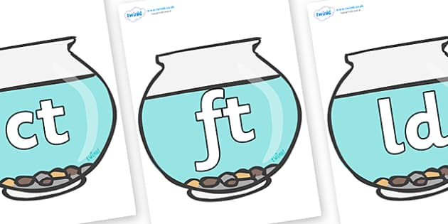 Final Letter Blends on Fish Bowls - Final Letters, final letter, letter blend, letter blends, consonant, consonants, digraph, trigraph, literacy, alphabet, letters, foundation stage literacy