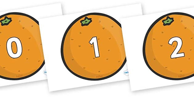 Numbers 0-31 on Oranges - 0-31, foundation stage numeracy, Number recognition, Number flashcards, counting, number frieze, Display numbers, number posters