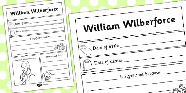 William Wilberforce Significant Individual Writing Frame - write