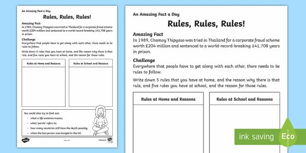 Rules! Rules! Rules! Activity Sheet - Amazing Fact Of The Day, activity sheets, powerpoint, starter, morning activity, December , school r