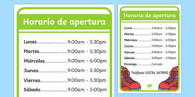 Horario de apertura Shoe Shop Role Play Opening Times Spanish - spanish, Shoe shop, shoes, role play, shop, trainers, display, poster, shoe box, labels, measuring chart, word cards