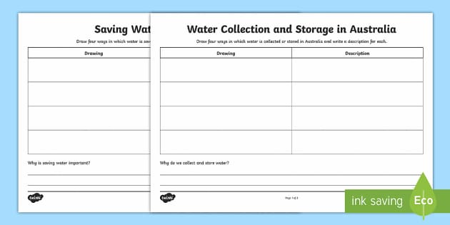 Saving, Collecting and Storing Water in Australia Write and Draw Activity Sheets - Water in Australia, collecting water, storing water, sustainability, saving water ,Australia