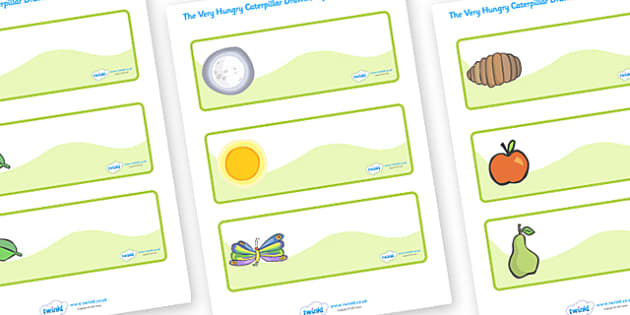 Editable Drawer-Peg-Name Labels to Support Teaching on The Very Hungry Caterpillar - The Very Hungry Caterpillar,  Eric Carle, resources, Hungry Caterpillar, life cycle of a butterfly, days of the week, food, fruit, story, story book, story book reso
