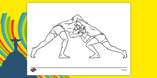 Rio 2016 Olympics Greco Roman Wrestling Colouring Sheet - rio 2016, 2016 olympics, rio olympics, greco, roman, wrestling, colouring sheet