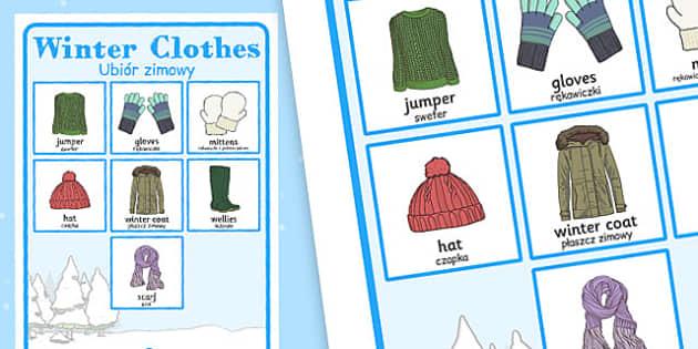 Winter Clothes Vocabulary Poster Polish Translation - polish, winter, clothes, vocabulary, poster, display