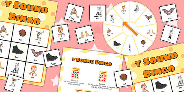 Final 'T' Sound Spinner Bingo - t sound, final, spinner, bingo