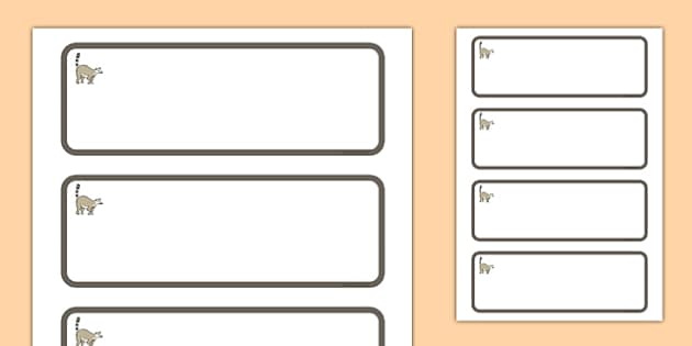 Lemur Themed Editable Additional Classroom Resource Labels - Themed Label template, Resource Label, Name Labels, Editable Labels, Drawer Labels, KS1 Labels, Foundation Labels, Foundation Stage Labels, Teaching Labels, Resource Labels, Tray Labels, Pr