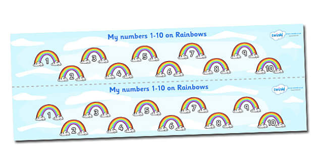 1-10 on Rainbows Number Strips - Maths, Math, number track, rainbow, Numberline, Number line, Counting on, Counting back, counting