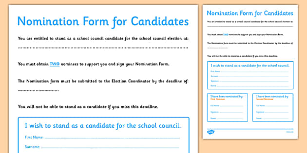 School Council Election Candidate Nomination Form - school council, election, candidate, nomination