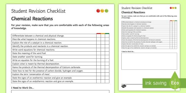Chemical Reactions Student Revision Checklist - Student Progress Sheet (KS3), chemical reactions, exothermic, endothermic, reactants, products