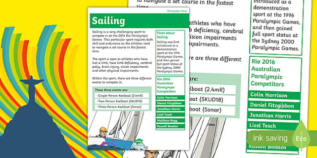 Rio Paralympics 2016 Sailing Display Poster