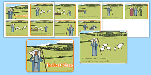 The Lost Sheep Story Sequencing 4 per A4 - usa, the Lost Sheep, sheep, shepherd, lost sheep, sequencing, story sequencing, story resources, A4, cards, 100, 99, search, searching, looking for, safe, carried home, bible story, bible, party, happy