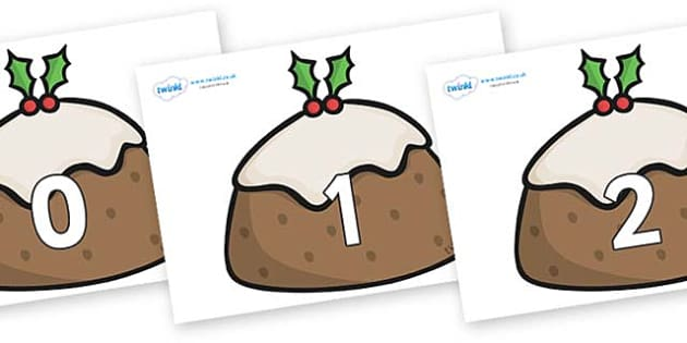 Numbers 0-50 on Christmas Puddings - 0-50, foundation stage numeracy, Number recognition, Number flashcards, counting, number frieze, Display numbers, number posters