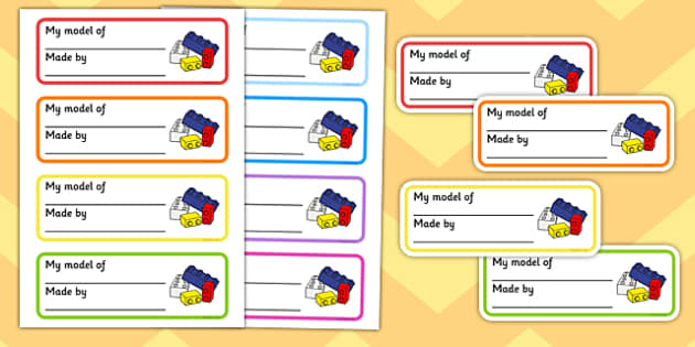 Model Name Labels - writing, name, write, construction area, purpose, mark, making, caption, word, phrase, early, literacy