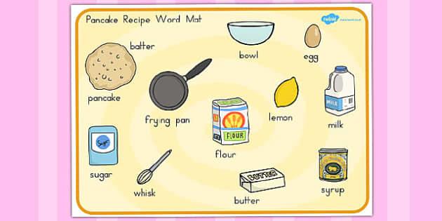 Pancake Recipe Word Mat - australia, pancake, recipe, word, mat