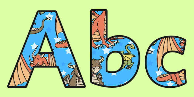 Dragon Themed A4 Display Lettering - letters, dragons, displays