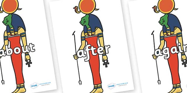 KS1 Keywords on Egyptian God - KS1, CLL, Communication language and literacy, Display, Key words, high frequency words, foundation stage literacy, DfES Letters and Sounds, Letters and Sounds, spelling