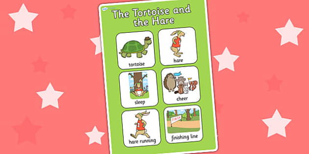 The Tortoise and The Hare Vocabulary Poster - stories, keywords