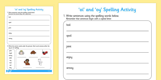 and oy Sentences and Spelling Activity oi oy spelling – Oi Oy Worksheets