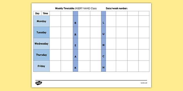 Reception Weekly Timetable - reception, weekly, timetable, time, table