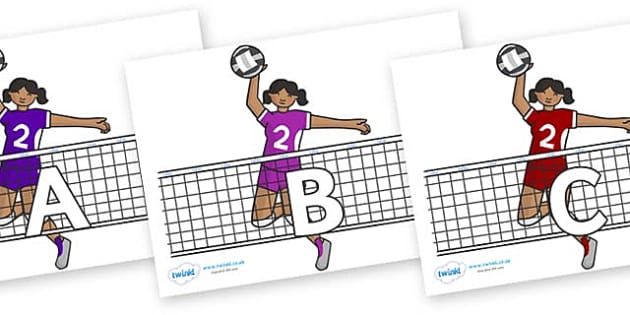 A-Z Alphabet on Volleyball - A-Z, A4, display, Alphabet frieze, Display letters, Letter posters, A-Z letters, Alphabet flashcards