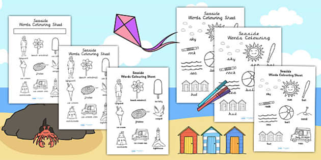 Seaside Themed Differentiated Word Colouring Worksheet - colour