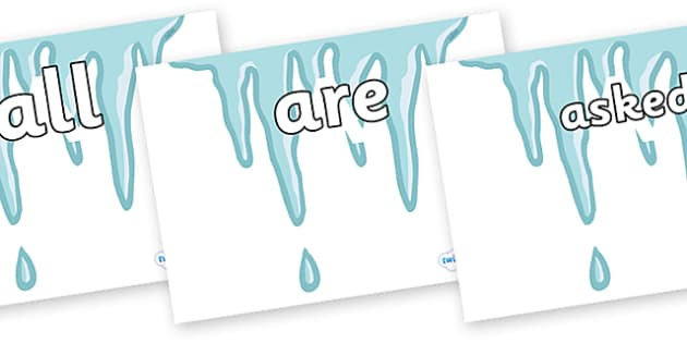 Tricky Words on Icicles - Tricky words, DfES Letters and Sounds, Letters and sounds, display, words