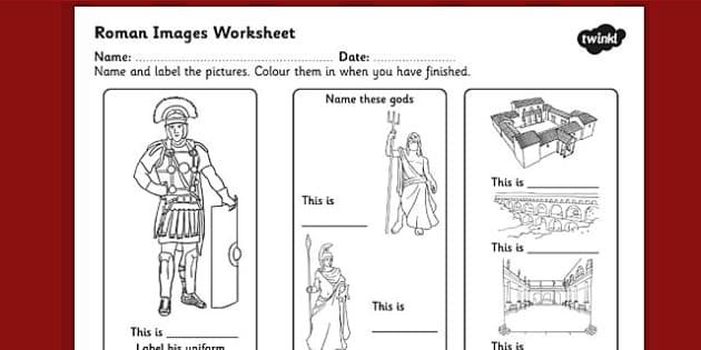Roman Images Labelling Worksheet - ancient rome, roman worksheet, roman labelling worksheet, roman key words, roman labelling and colouring worksheet, ks2