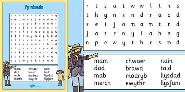 fy nheulu Word Search Cymraeg - cymraeg, welsh, my family, wordsearch, word search