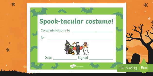 Spook-tacular Costume Halloween Certificate