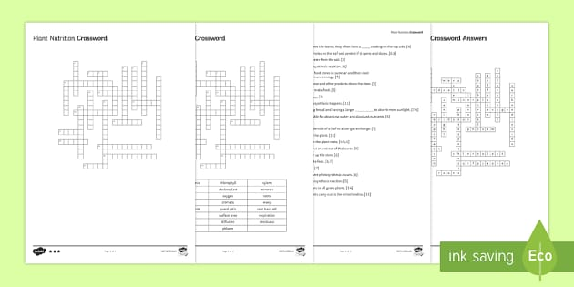 Plant Nutrition Crossword - Crossword, plant, plants, nutrition, photosynthesis, chlorophyll, chloroplast, respiration, mitochon