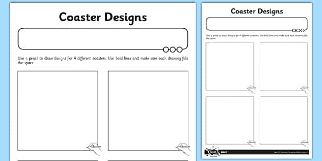 Coaster Designs Activity Sheet - coaster, designs, activity, sheet, worksheet