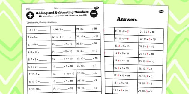 Number Facts to 10 Worksheet - number, facts, worksheet, 10, math