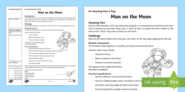 Man on the Moon Activity Sheet - Amazing Fact Of The Day, activity sheets, powerpoint, starter, morning activity, December, Tim Peake