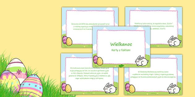 Karty z faktami Wielkanoc po polsku - święta, gazetka