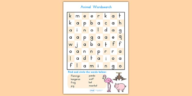 Animal Wordsearch - animals, word search, word games, literacy